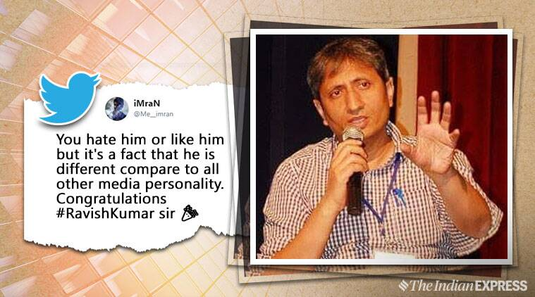 Congratulations pour in for Ravish Kumar after news anchor