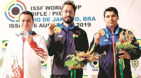 abhishek verma, shooter abhishel verma, gold in shooting, abhshek verma wins gold in world cup, rio world cup, sports news, chandigarh news, indian express
