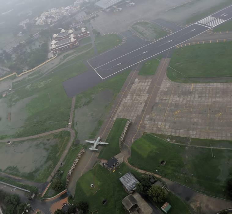 Vadodara airport in the aftermath of heavy rains (Source: Defence PRO)