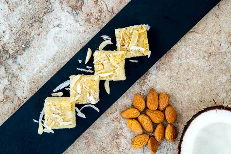 coconut and almond burfi, indian expres, raksha bandhan recipe