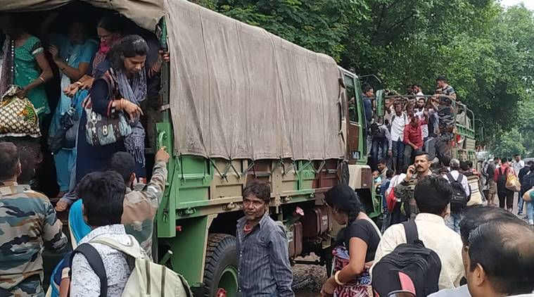 Stranded people were evacuated with the help of Army (Express Photo)