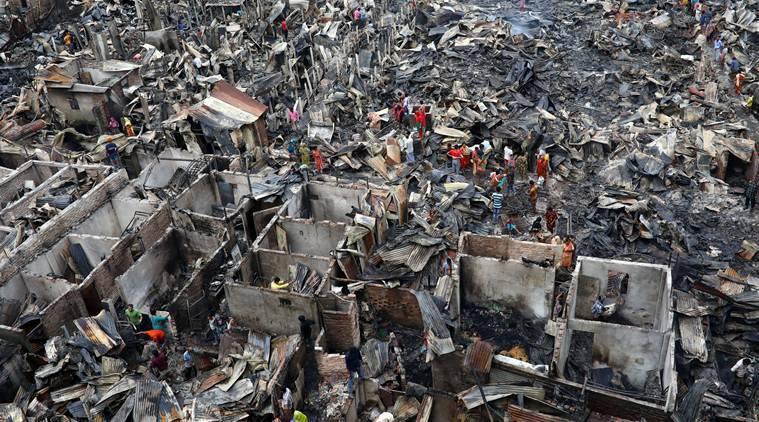 Bangladesh slum fire, Dhaka fire in Slum, Bangladesh Slum Dhaka fire, Indian Express World news