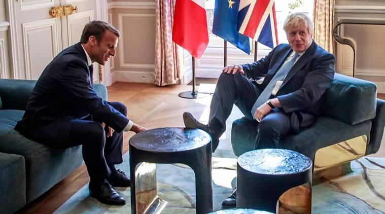 boris johnson emmanuel macron, biritsh pm, french pm, brexit issue, macron pn brexit, world news, indian express