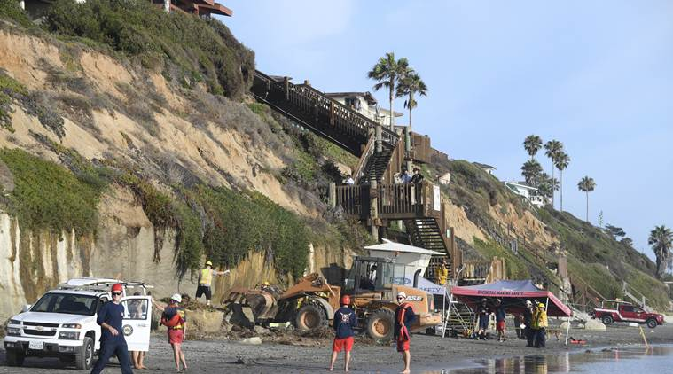 california beach, southern california beach, california beach bluff collapse, bluff collapse on california beach, southern california beach bluff collapse, world news, Indian Express