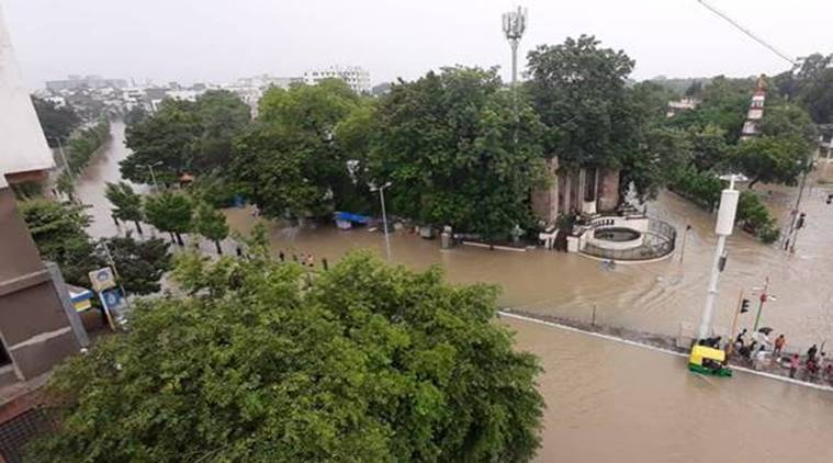 Kirti tower/Amar cars circle in Sayajigunj right after the Kala Ghoda bridge. The water is from the overflowing Vishwamitri river (Express Photo)