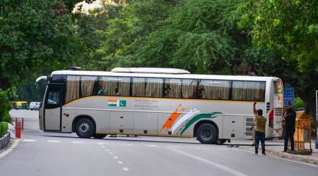 delhi lahore bus service, friendship bus service, india pakistan relations, downgrading bilateral relations, article 370. special status, jammu and kashmir, jammu and kashmir bifurcation, indian express
