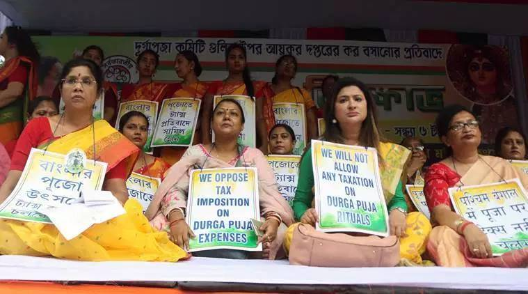 Mamata Banerjee, Mamata Banerjee Durga puja committees, Mamata Banerjee slams BJP, IT notice to Durga puja committees, India news, Indian Express
