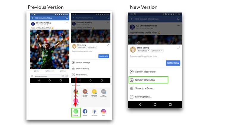 Facebook now shows 'Send in WhatsApp' button more prominently for