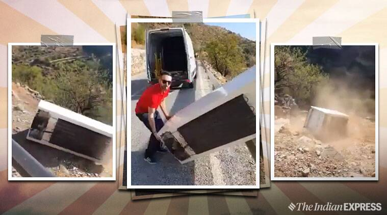 Man Throws Fridge Off Cliff, Cops Make Him Drag It Back