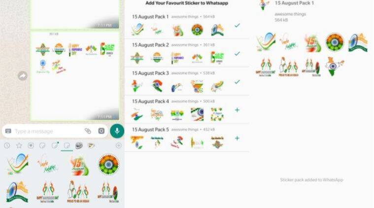 happy independence day greetings, india independence day greetings, independence day greetings images, independence day whatsapp stickers, independence day 2019, india independence day 2019, indian express, how to send whatsapp stickers on independence day