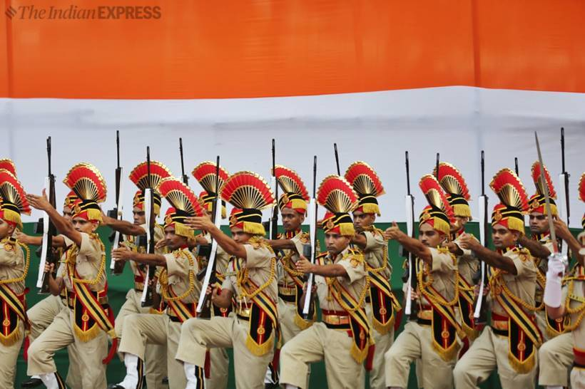 independence day photos, independence day images, august 15, independence day, 73rd independence day, red fort, full dress rehearsal, Independence Day 2018 Independence Day, independence day celebrations, army, cadets, security, photos, india news, indian express