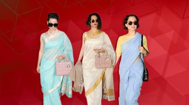 kangana ranaut, kangana ranaut airport, kangana ranaut 600 sari, kangana ranaut cotton sari, kangana ranaut, indian express, indian express news