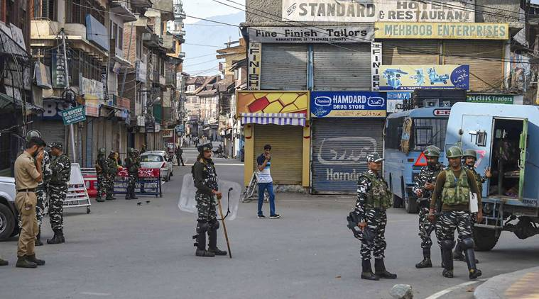Kashmir curfew, Kahsmir militants firing, Kashmir lockdown, Kashmir article 370, kashmir militants firing, indian express