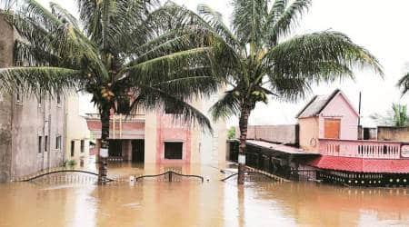 Maharashtra rains, Kolhapur rains, maharashtra farmlands flooded, maharashtra floods, indian express