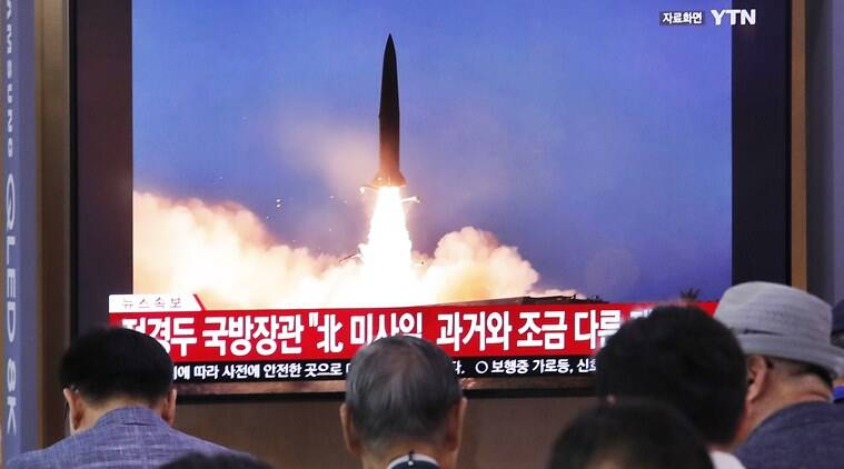 north korea missile tests, north korea missile test, north korea missile launches, north korea missile launch, north korea missiles, kim jong un, south korea sea coast, missile launch north korea, world news, Indian Express