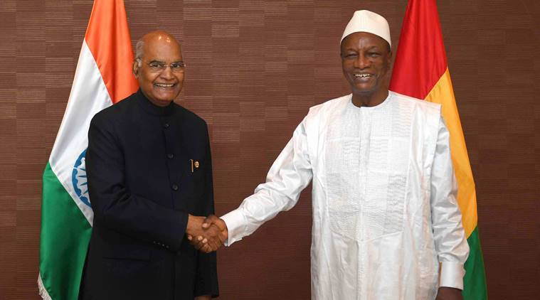ram nath kovind, Alpha Conde, President, Guniea president, India offers credit to guniea, indian express
