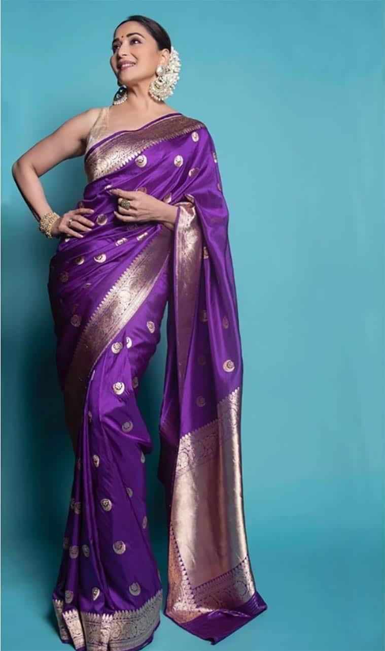 Madhuri Dixit, Vidya Balan, Bollywood sari looks