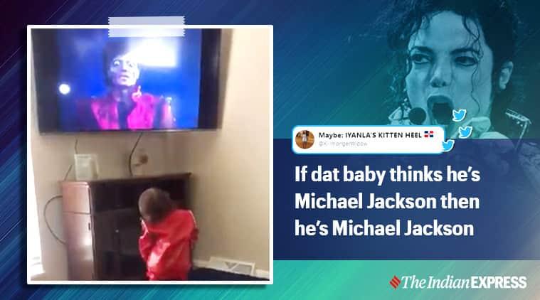 Boy dancing along Micheal Jackson song, Boy thinks he's Micheal Jackson, Boy mimicking Micheal Jackson dance moves, kid dancing along Micheal Jackson song, Micheal Jackson, Trending, Indian Express news