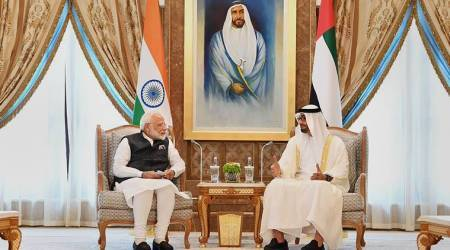 pm modi, modi uae visit, modi launches rupay card, pm rupay card, pm modi middle east visit, pm uae visit, pm modi foreign visit, indian express