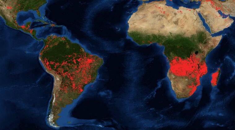 nasa, nasa africa fire, nasa central africa fire images, nasa forest fire images, nasa forest fire satellite images, amazon forest fires, congo basin forest fires