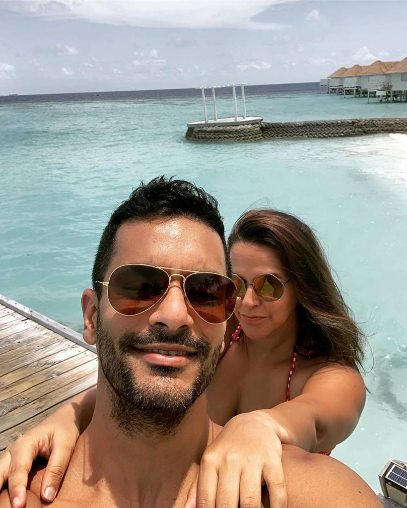 angad bedi neha dhupia maldives holiday
