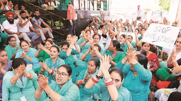 Chandigarh: National Health Mission employees' union on strike