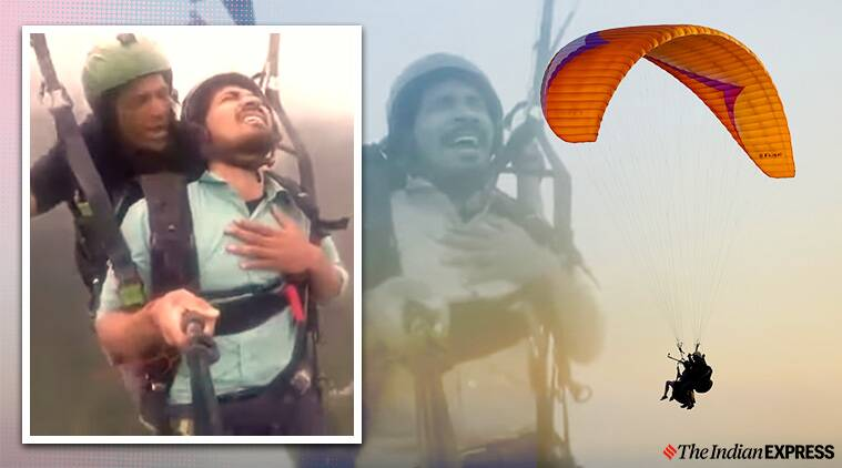 paragliding viral video, paragliding viral video twitter reactions, paragliding man viral video, funny video, funny paragliding viral video, trending, indian express news