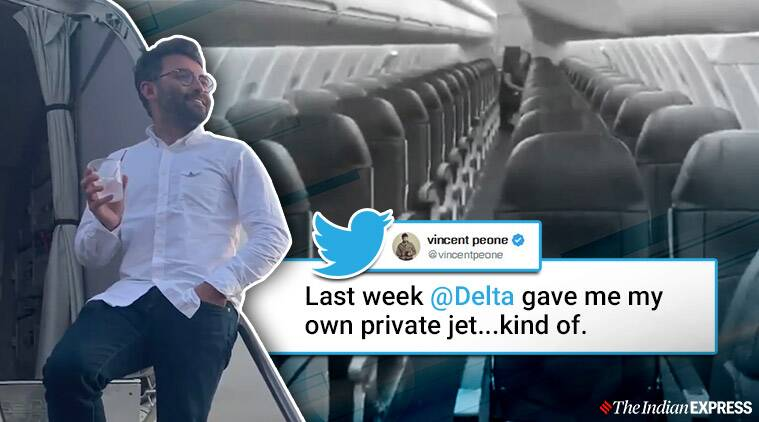 man travels alone delta flight, man gets private jet experience after rescheduled flight, Delta flies a man alone, trending, indian express, indian express news
