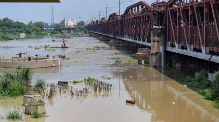 Delhi floods, Delhi rains, Yamuna above danger mark, Yamuna water level, Yamuna water rising in Delhi, Hathni Kund Barrage, delhi news