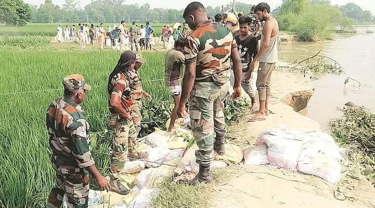 Punjab flood, floods in Punjab, Pakistan releases water, Pakistan water india punjab, sutlej water level, punjab news, Punjab floods NDRF rescue team, indian express