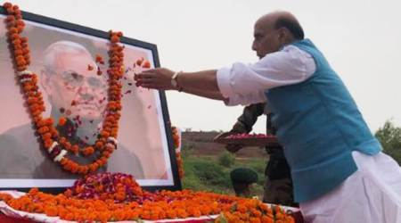 rajnath singh, rajnath singh in pokhran, rajnath singh pokhran visit, atal bihari vajpayee, atal bihari vajpayee death anniversary, indian express news