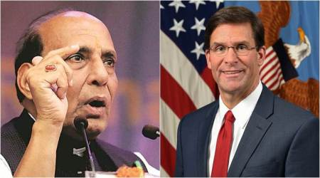 Mark Esper Rajnath Singh meeting, Mark Esper, Rajnath Singh, Defence ministry, defence, US india relations, world, indian express