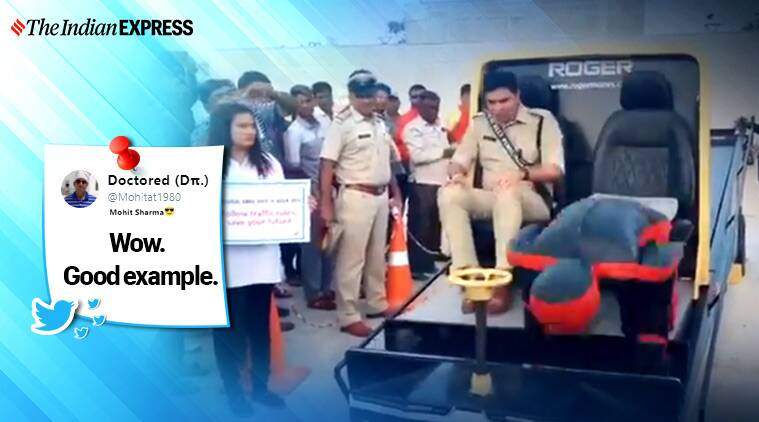 road safety rules, up traffic police, what happens when not wearing seat belt, seat belt persuader, up police road safety demonstration, good news, indian express