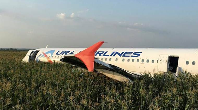 Russia hails miracle after plane with 233 passengers makes emergency landing in corn field