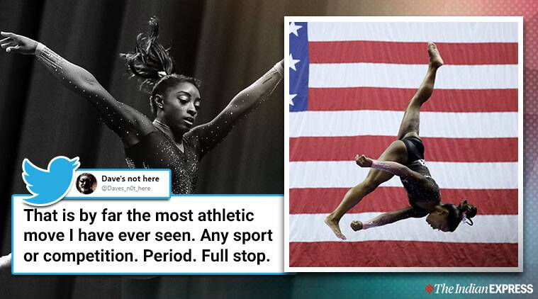 simone biles performance, simone biles viral video, U.S. women's gymnastics championships, us gymnastics, trending, indian express, indian express news