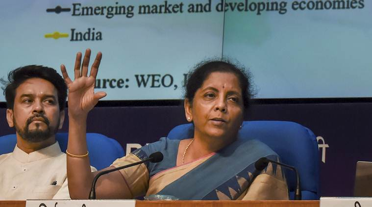 nirmala sitharaman press conference, finance ministry announcements, indian economy, indian economy growth, nirmala sitharaman, finance minister nirmala sitharaman, niti aayog, rajiv kumar niti aayog, rajiv kumar on indian economy, economy slowdown, Indian Express