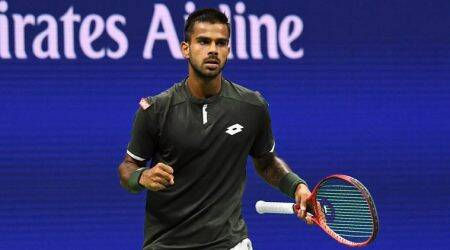 sumit nagal, sumit nagal vs roger federer, sumit nagal vs roger federer us open, sumit nagal photos, sumit nagal vs federer photos, us open, tennis news
