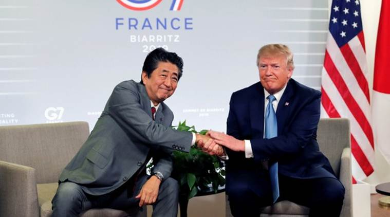 us china trade deal, china us trade deal, us president donald trump, donald trump, president trump, china prime minister shinzo abe, shinzo abe, g7 summit, G7 summit france, world news, Indian Express