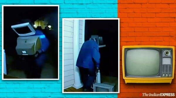 Guy TV head leaves TVs on people's lawns, TV head guys leave TVs, old TV sets viral story, bizarre tv head man leaving old tv sets, trending, indian express, indian express news
