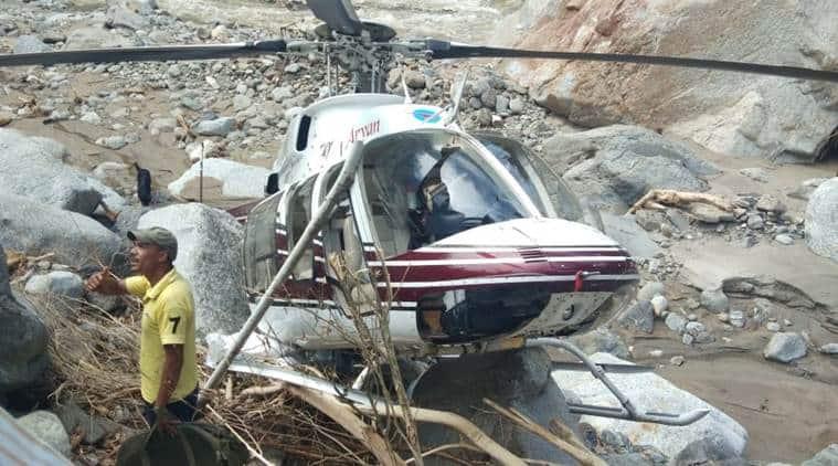 uttarakhand helicopter crash, uttarkashi helicopter crash, helicopter crash in uttarakhand, helicopter crash uttarkashi, dehradun floods, uttarakhand floods, india news, Indian Express