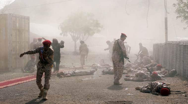 Yemen war: Houthi missile attack on military parade kills 32