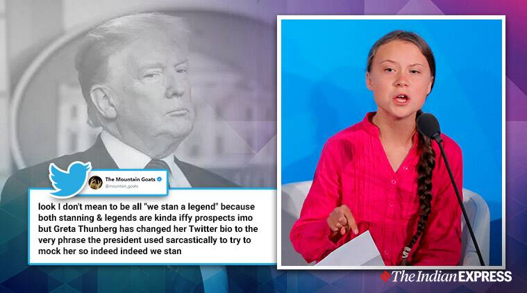Greta Thunberg, donald trump, Greta Thunberg twitter bio, Greta Thunberg trump quote twitter bio, Greta Thunberg troll trump, indian express, viral news, world news