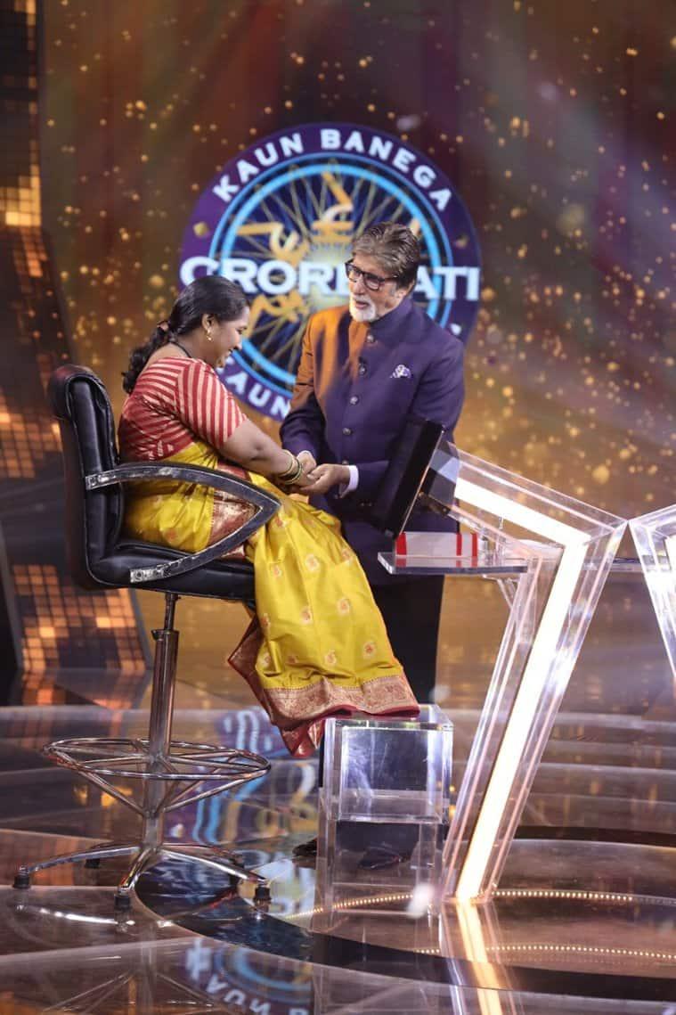 Amitabh Bachchan with KBC contestant