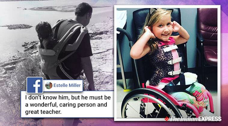 School teacher wins hearts after he carries student with spina bifida on field trip