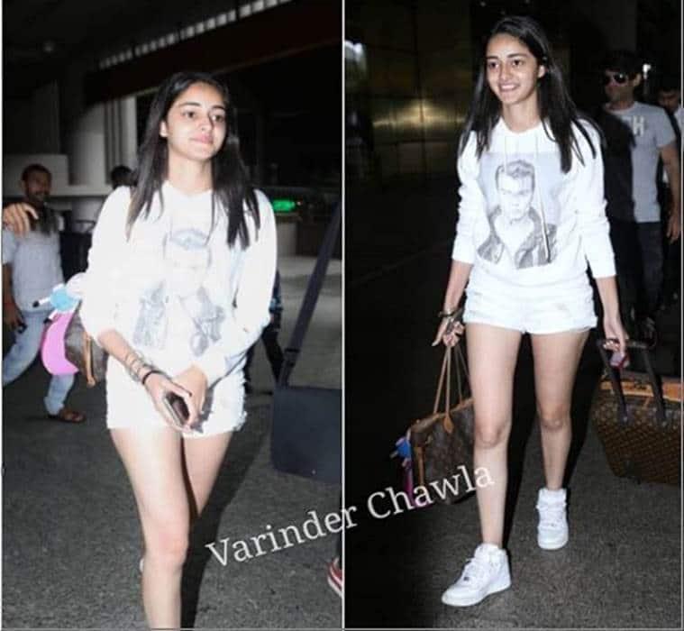 ananya pandey, airport look, indian express, indian express news