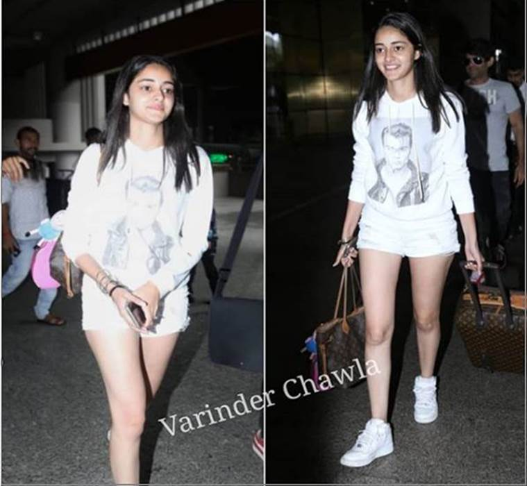 ananya pandey, airport look, indian express, indian express news