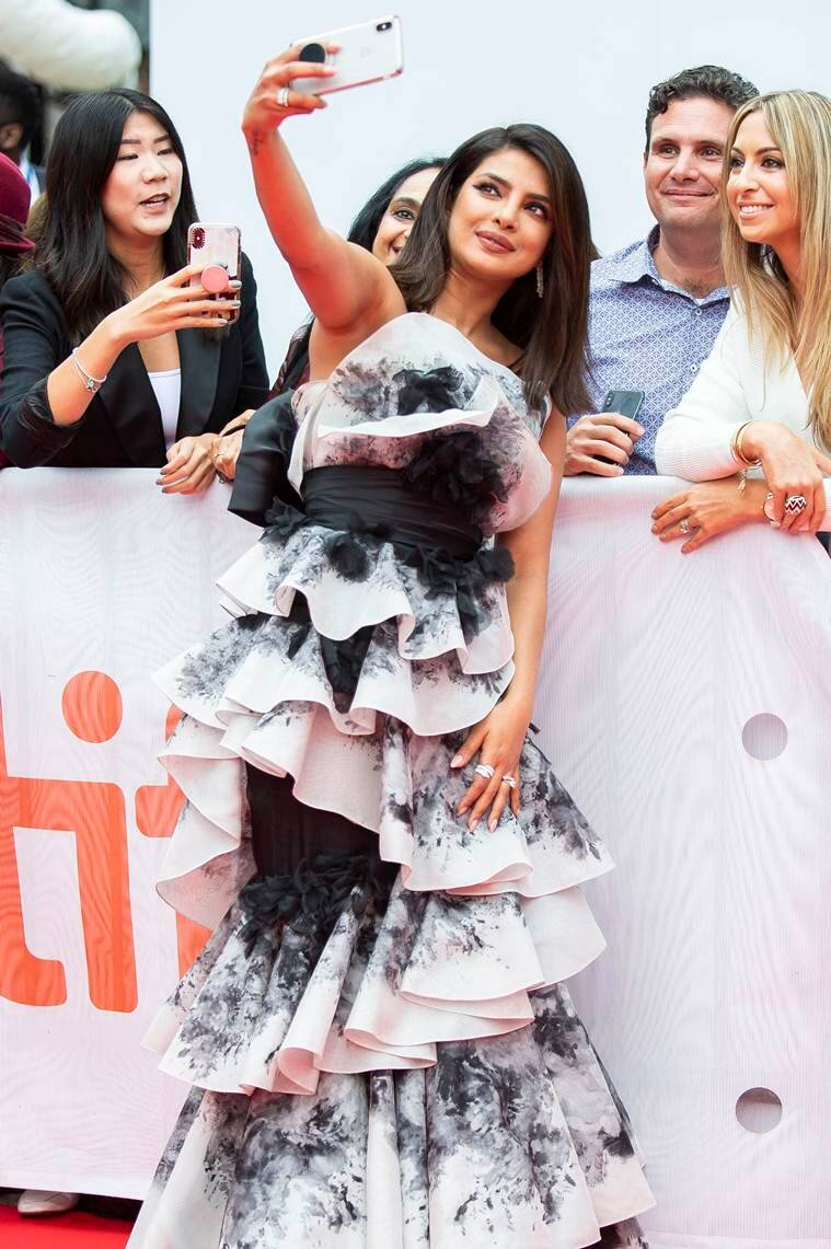 priyanka chopra, farhan akhtar, pecee, the sky is pink, tiff 2019, priyanka chopra Aishwarya rai Bachchan's Ralph & Russo dress from the 2015 Cannes Film Festival,indian express news