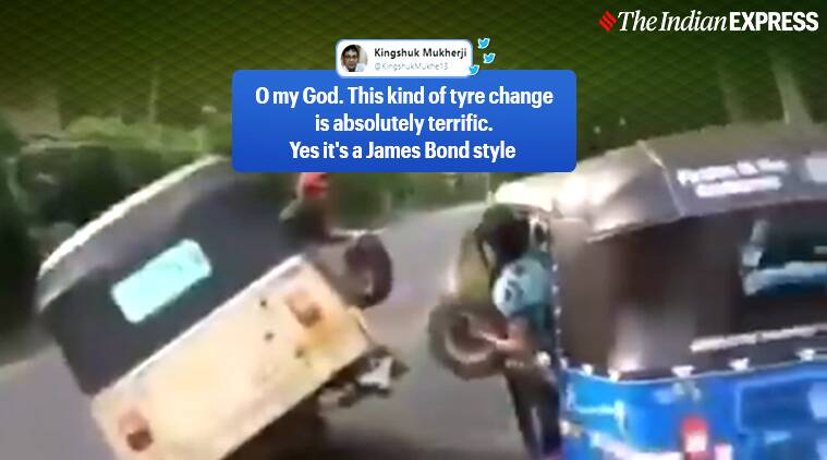 auto, auto tyre changing, tyre changing viral video, harsh goenka, funny viral video