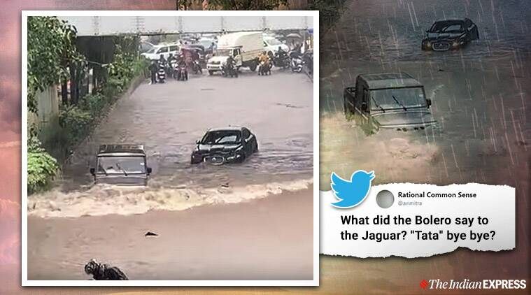 Video of Bolero zipping past stranded Jaguar in flooded Navi Mumbai street goes viral
