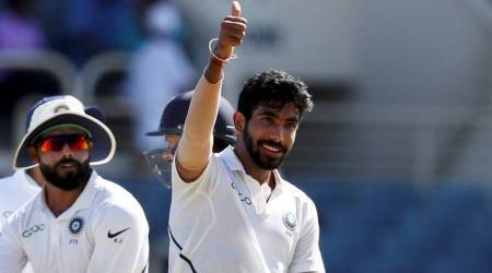 jasprit bumrah, jasprit bumrah hattrick, jasprit bumrah photos, india vs west indies, india vs west indies 2nd test, ind vs wi 2nd test, cricket photos